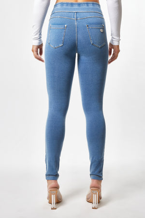 N.O.W.® YOGA Denim - High Rise Full Length - Medium Rinse + Yellow Stitching
