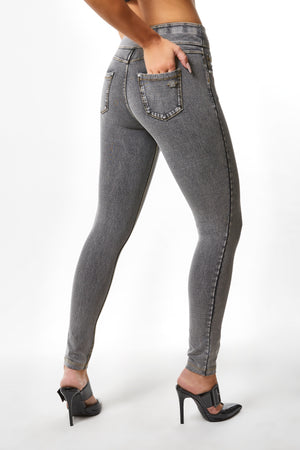 N.O.W.® YOGA Denim - High Rise Full Length - Grey Rinse + Yellow Stitching