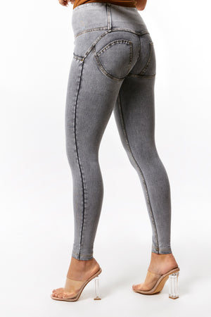 WR.UP® Denim - High Rise Full Length 4 Button - Grey Rinse + Yellow Stitching