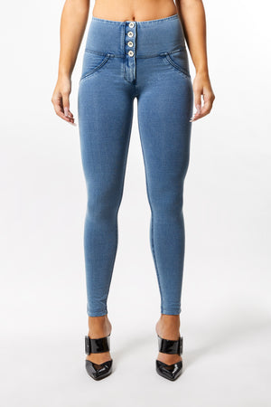 WR.UP® Denim - High Rise Full Length 4 Button - Light Blue Rinse + Blue Stitching