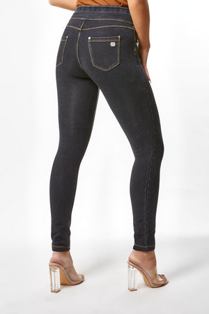 N.O.W.® YOGA Denim - High Rise Full Length Folding Waistband - Black Rinse + Yellow Stitching