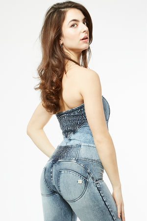 Denim Bodysuit - Sleeveless Stone Wash - Marble Rinse