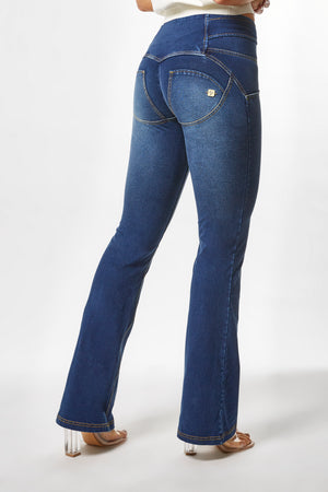 WR.UP® Denim - High Rise Full Length Flare Knotted Belt - Dark Rinse & Yellow Stitching