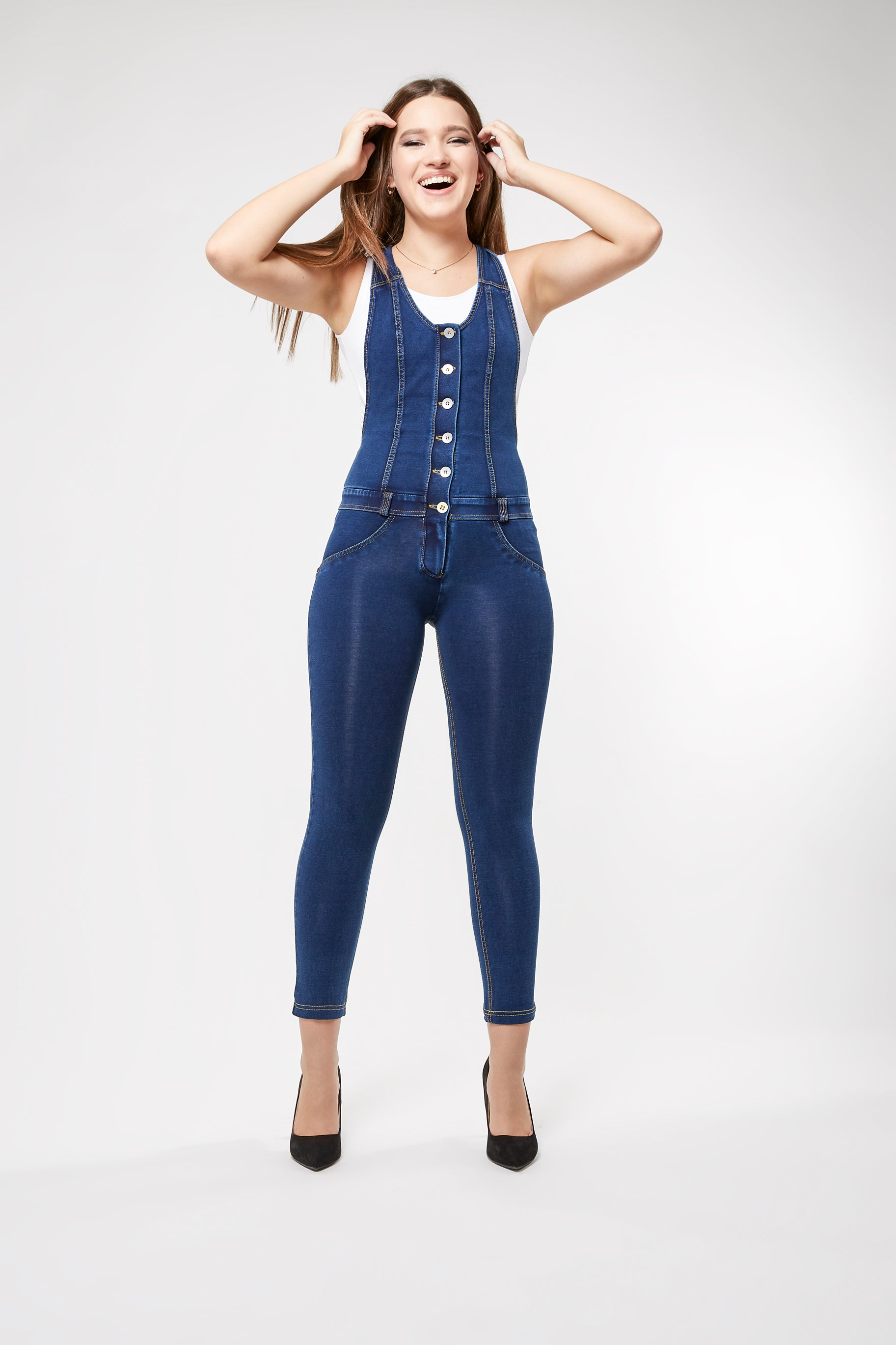 WR.UP® Denim Overalls - Button-Up Sleeveless Ankle - Dark Rinse + Yellow Stitching