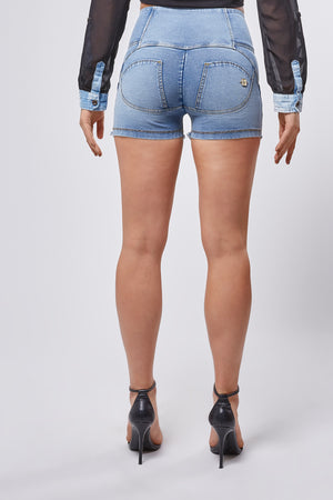 WR.UP® Denim Short - High Rise 3 button Frayed Edges - Medium Rinse + Yellow Stitching