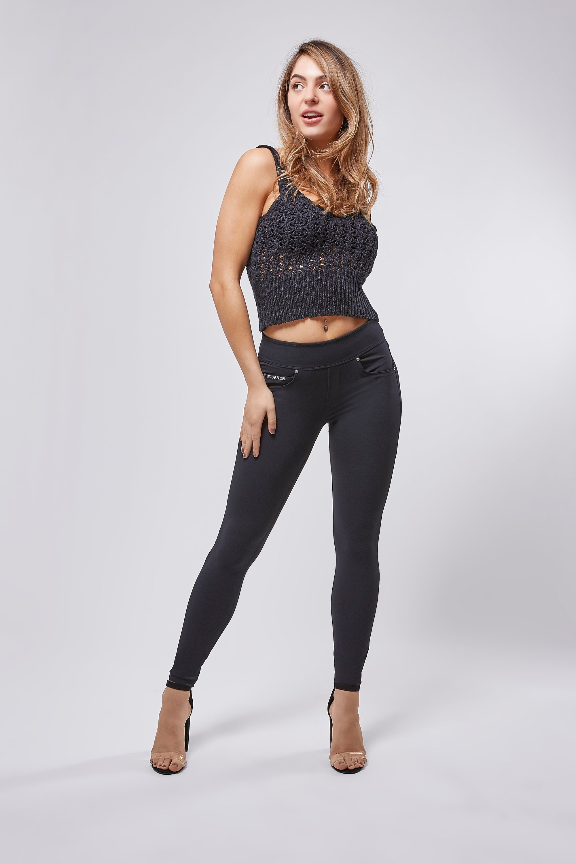 Knit Cami - Cropped Crochet Detail - Black