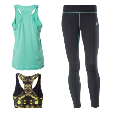 FREDDY SUPERFIT D.I.W.O ANKLE LENGTH SPORT PANT + TOP + TANK - Mint/Black - LIVIFY  - 1