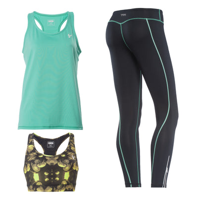 FREDDY SUPERFIT D.I.W.O ANKLE LENGTH SPORT PANT + TOP + TANK - Mint/Black - LIVIFY  - 2