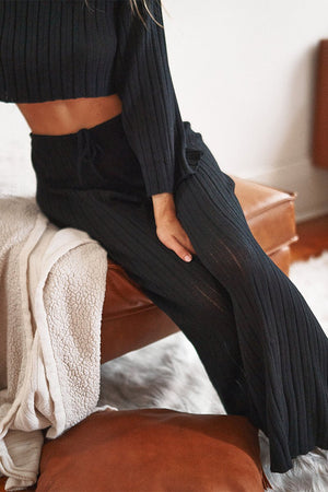 Baha Pant - Ribbed Knit Wide Leg - Black