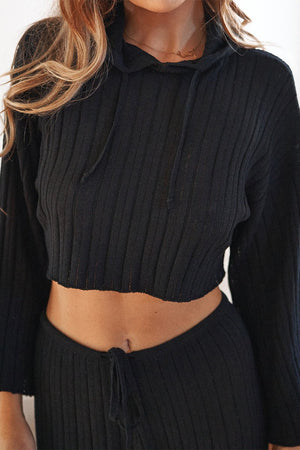 Baha Hoodie -  Ribbed Knit Crop - Black