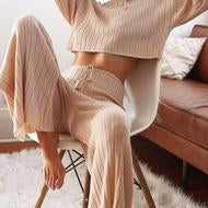 Baha Pant - Ribbed Knit Wide Leg - Sand