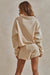 Chill Fleece Set - Long Sleeve Sweater + Shorts - Cream