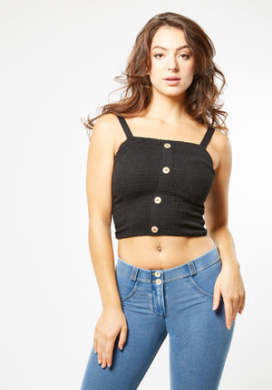 Tank Top - Cropped Button Up - Black