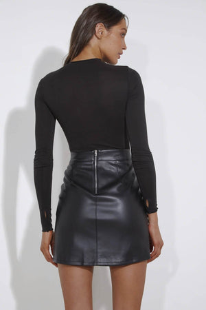 Knox Faux Leather Skirt - High Waisted Side Slit - Black