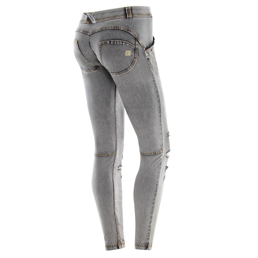 Freddy WR.UP® Distressed Denim & Strass Low Rise Skinny  - Grey Rinse