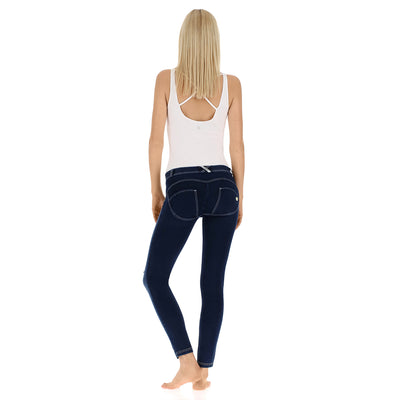 Freddy WR.UP® Distressed Denim Regular Rise Skinny - Dark Rinse + White Stitching