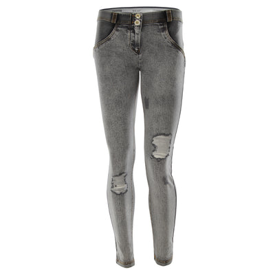 Freddy WR.UP® Distressed Denim Regular Rise Skinny - Grey Rinse + Yellow Stitching