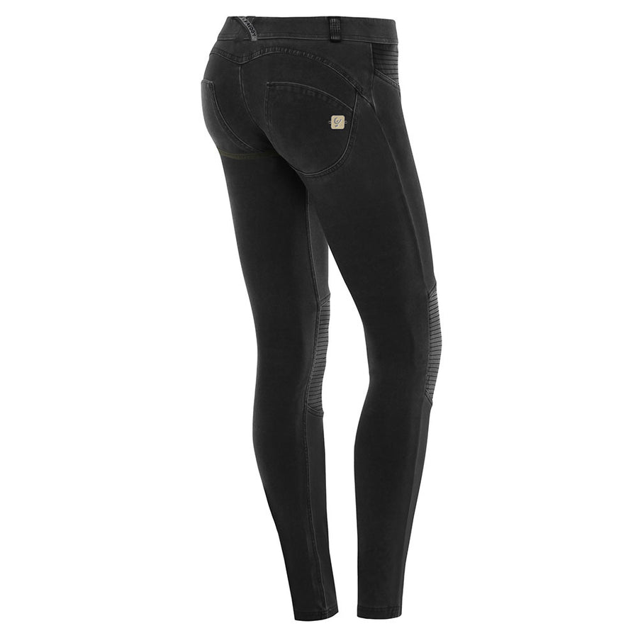 Freddy WR.UP® Pigment Dyed Leather Knee Patch Low Rise Skinny - Black