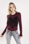 Freddy Front Detail Long Sleeve Body Suit - Bordeaux