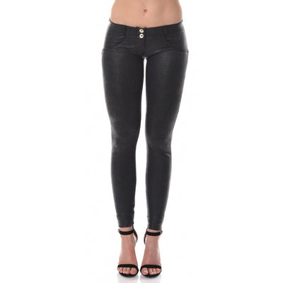Freddy WR.UP® Python Leather Low Rise Skinny - Black