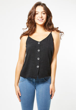 Tank Top - V-neck Button Up - Black