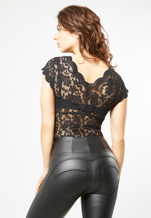 Lace Blouse - Plunge V-neck - Black