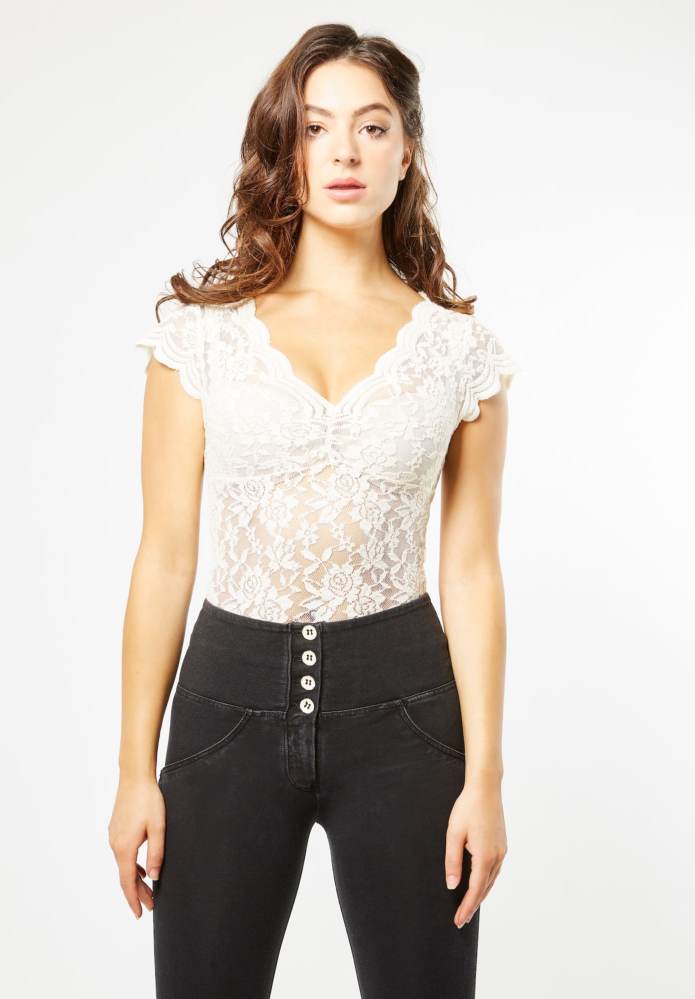 Lace Blouse - Plunge V-neck - White