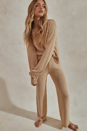 Celeste Knit Pant Set - Knitted Long Sleeve Top + Pants - Sand