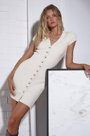 Nevada Mini Dress - Button Up Ribbed Knit - Cream