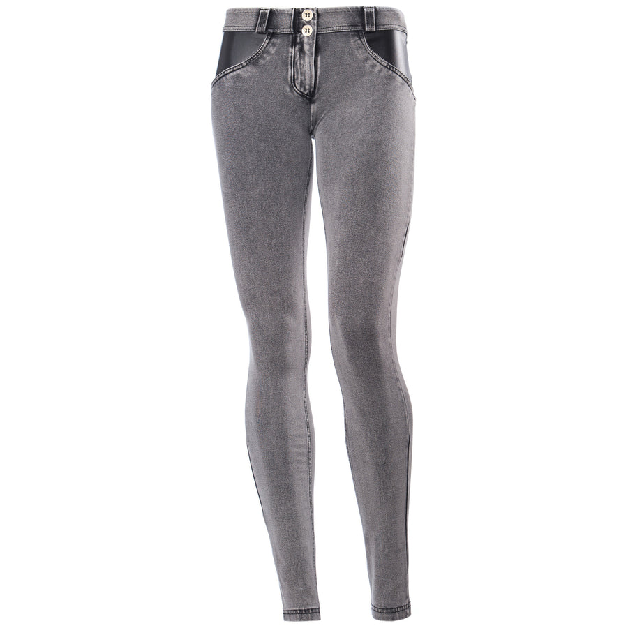 FREDDY WR.UP DENIM EFFECT LEATHER DETAIL - Grey Rinse - LIVIFY  - 1