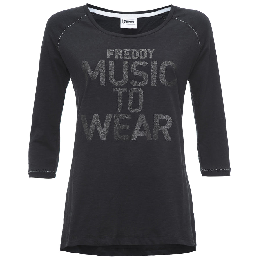Freddy 3/4 Music Tee - Black
