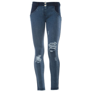 WR.UP® Distressed Denim - Classic Rise Full Length - Dark Rinse