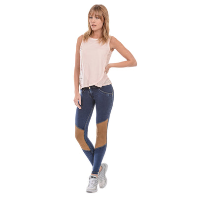 Freddy WR.UP® Suede Knee Patch Low Rise Skinny - Dark Rinse