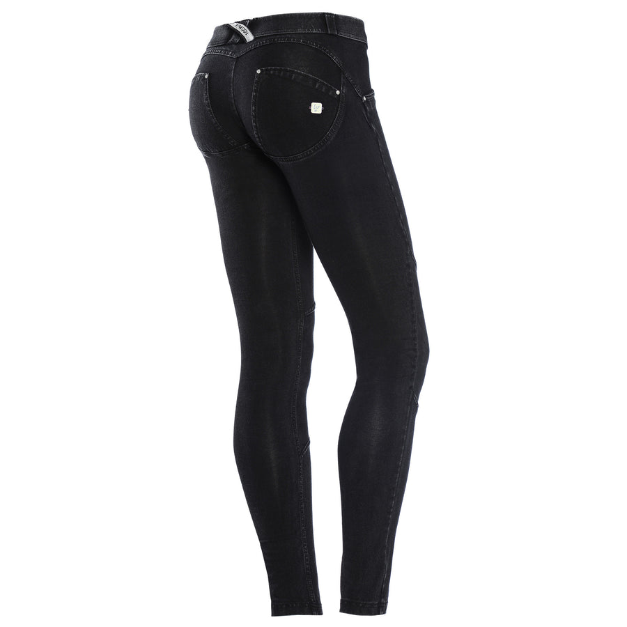 Freddy WR.UP® Suede Knee Patch Low Rise Skinny - Black Rinse