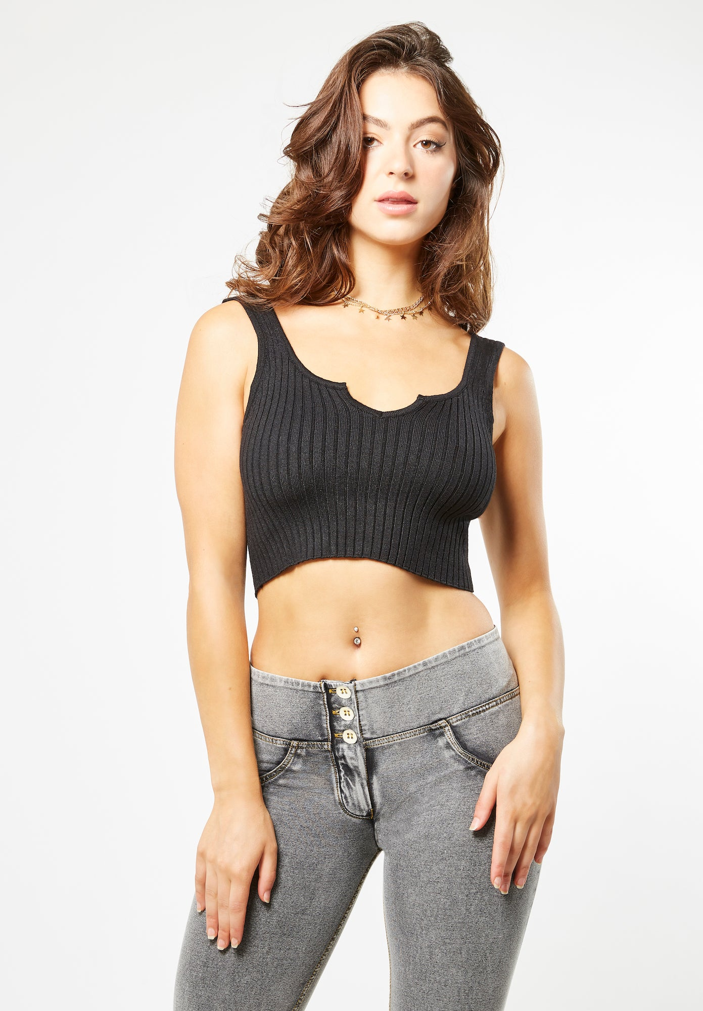 Knit Tank Top - Cropped - Black