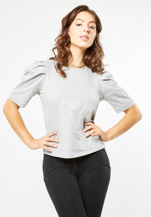Jersey T-shirt - Puff Sleeve Cotton - Grey