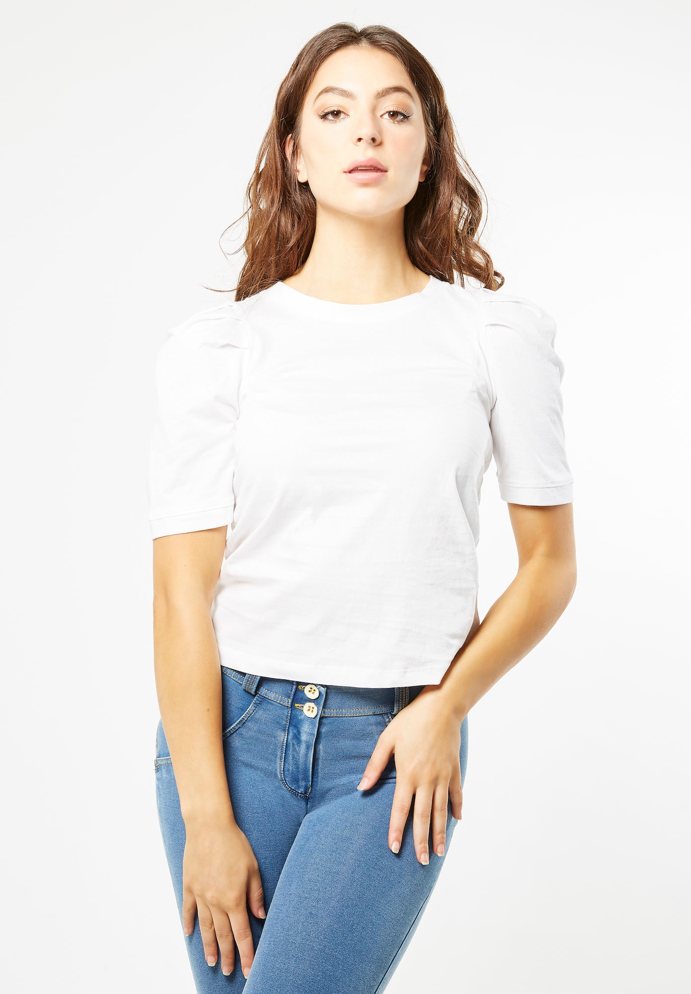 Jersey T-shirt - Puff Sleeve Cotton - White