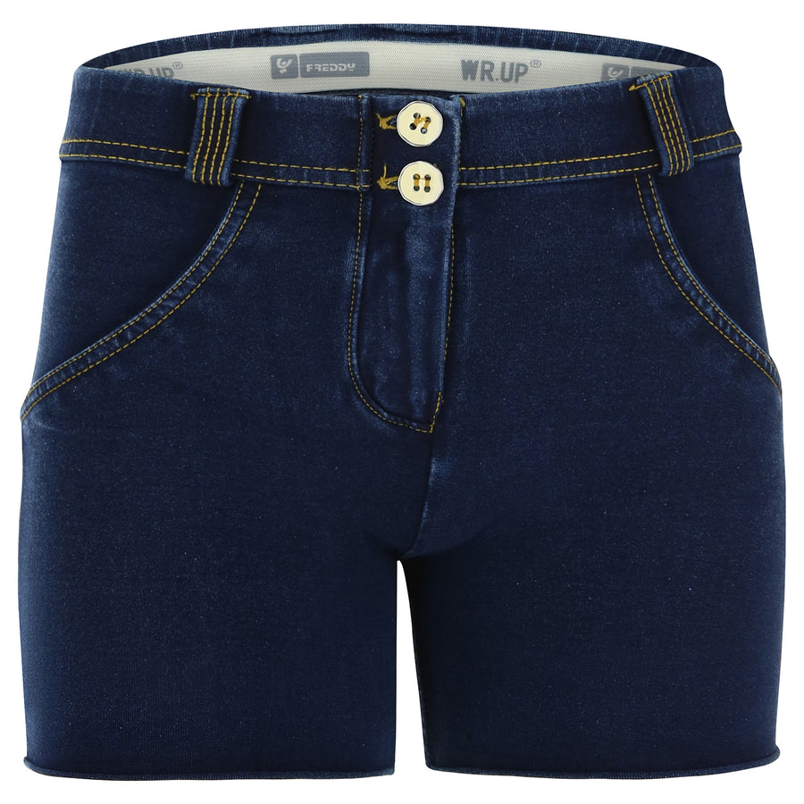Freddy WR.UP® Denim Regular Rise Shorts - Dark Rinse + Yellow Stitching
