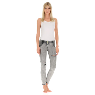 Freddy WR.UP® Distressed & Embroidered Denim Regular Rise Skinny - Grey Rinse