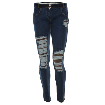 Freddy WR.UP® Distressed Denim Camo Detail Regular Rise Skinny - Dark Rinse + Yellow Stitching