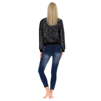Freddy WR.UP® Whiskering Denim High Rise Skinny - Dark Rinse + White Stitching