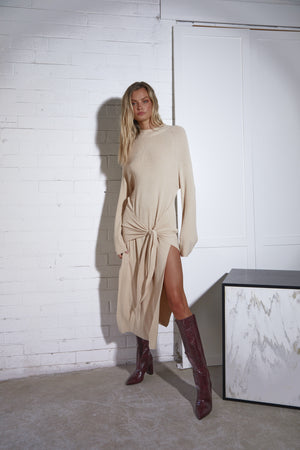 Tied Up Dress - Longsleeve Knit - Sand