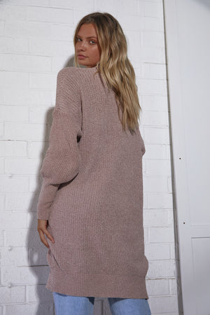 Nettie Long Knit Cardigan - Balloon Sleeves - Dusty Pink