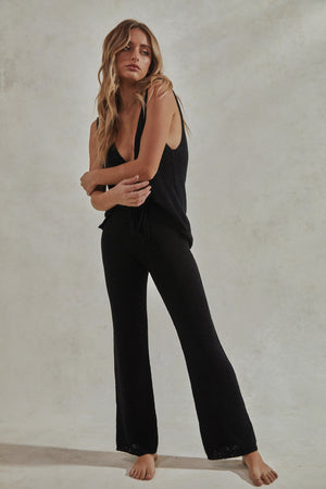 Celeste Set - Knitted Tank Top + Pants - Black