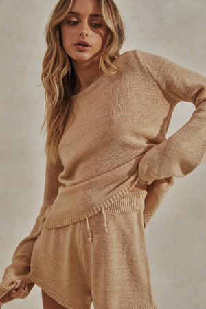 Celeste Knit Set - Knitted Long Sleeve Top + Shorts - Sand