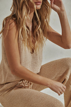 Celeste Set - Knitted Tank Top + Pants - Sand