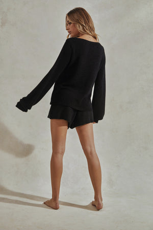Celeste Knit Set - Knitted Long Sleeve Top + Shorts - Black