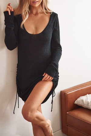 Turn Back Time Dress - Knit Scoop Back - Black