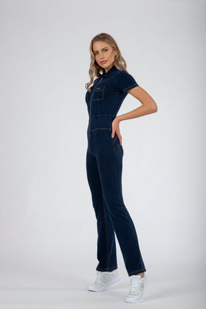 WR.UP® Denim - Jumpsuit Full Length Straight Leg - Dark Rinse & Yellow Stiching