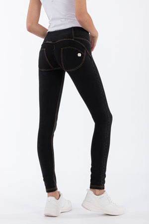 WR.UP® Denim - Mid Rise Full Length 3 Button - Black Rinse & Yellow Stitching